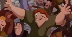 The villain, Frollo, is killed after the deformed bell-ringer Quasimodo saves the heroine gypsy Esmeralda from her execution ordered by Frollo for being a temptress. She lives happily ever after with the Captain of the Guard Phoebus. Quasimodo is finally accepted into society despite his deformities.