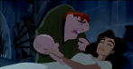 Esmeralda falls in love with Phoebus, but he is already engaged. She is sentenced to death by Frollo when he frames her for an attack on Phoebus, which Frollo actually committed in jealousy of Esmeralda's love. Quasimodo kills Frollo for laughing during Esmeralda's death by hanging. He then lays next to her body until he starves to death.